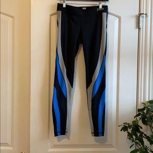 Fila workout leggings- black, silver and blue